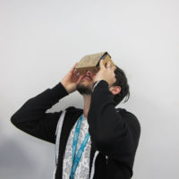 Student Using a Cardboard Viewer