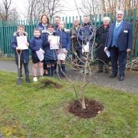 Tree planting ceremony at Sacred Heart R C Primary School